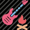 burn, camp, fire, guitar icon