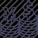 cash, coin, dollar, money, money conversion, payment, yen icon