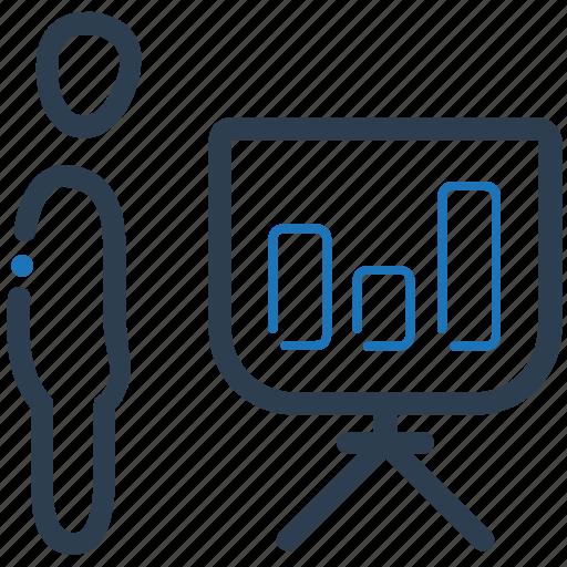 bar chart, businessman, presentation, statistics icon