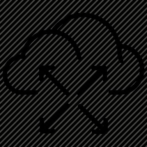 arrow, arrows, cloud, expand icon
