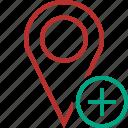 add, gps, location, map, marker, navigation, pin