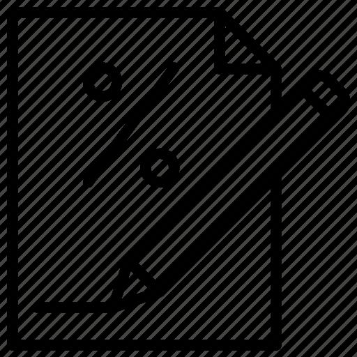 document, file, hundred, pen, percent, percentage icon