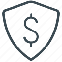 bank, dollar, insurance, money, protected, security, shield icon