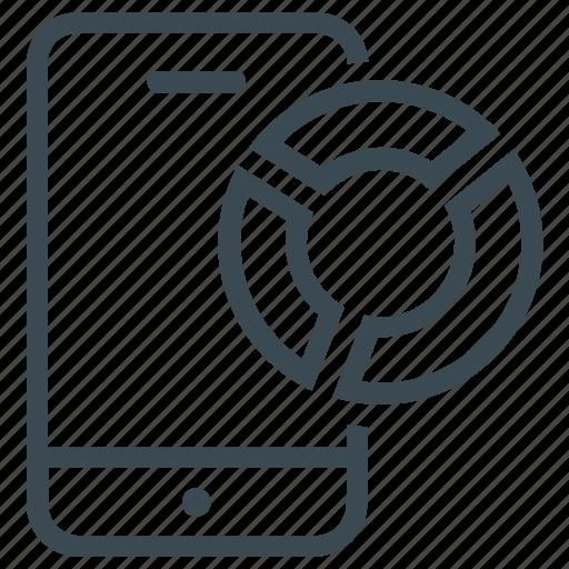 diagram, mobile, pie, pie chart, report, statistics icon