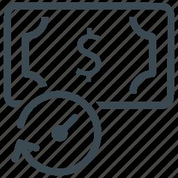 budget, clock, dollar, money, time icon