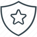 protection, secure, shield, star icon
