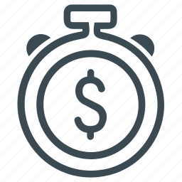 budget, deadline, deposit, dollar, money, stopwatch, timer icon