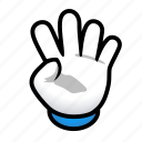 four, gesture, hand, signs icon