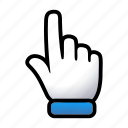 click, gesture, hand, here, point, signs icon