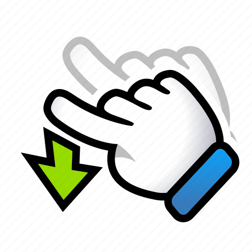 down, gesture, hand, move, signs, swipe icon