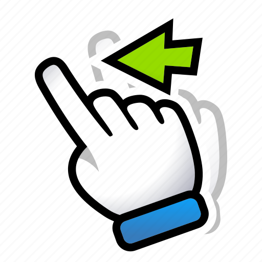 gesture, hand, left, move, signs, swipe icon