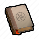 book, magic, medieval, pentagram, spell icon