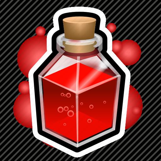 flask, magic, medieval, potion, square icon