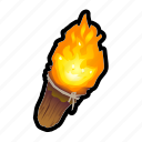 fire, medieval, tools, torch icon