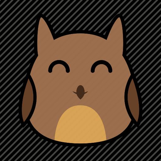 animal, bird, emoticon, expression, face, owl, smiley icon