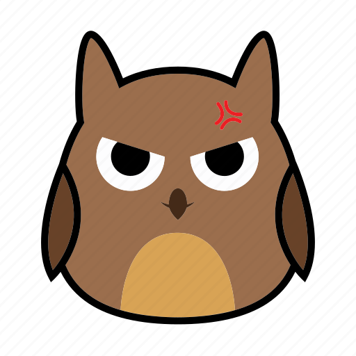 angry, animal, bird, emoticon, expression, face, owl icon