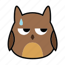 animal, bird, emoticon, expression, face, owl, smiley icon