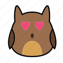 animal, brid, emoticon, expression, face, love, owl icon