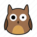 animal, bird, emoticon, expression, face, horror, owl icon