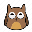 bird, emoticon, expression, face, glasses, owl, smiley icon