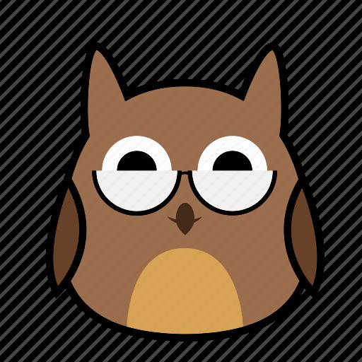 bird, emoticon, expression, face, glasses, owl, smiley icon