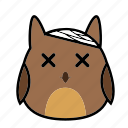 animal, bird, emoticon, expression, face, owl, sick icon