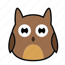 animal, bird, emoticon, expression, face, owl, sad icon