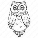 bird, coloring book, education, night, owl, realistic, school icon