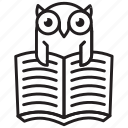 wisdom, owl, education, book, school, knowledge, bird icon