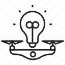 air, delivery, bulb, ideas, send, drone, sharing icon