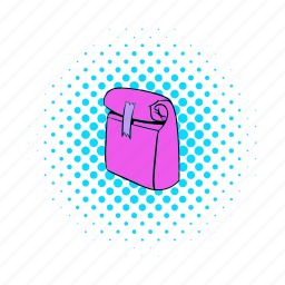 bag, comics, container, food, package, paper, pink icon