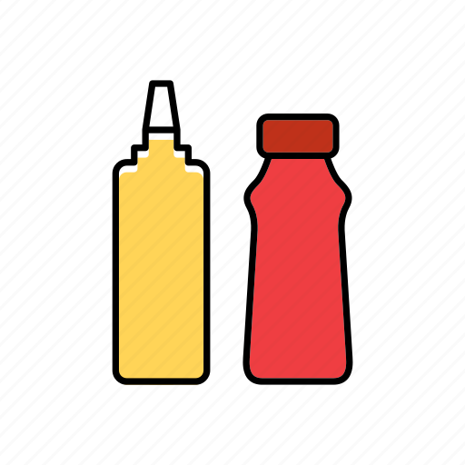 bottle, container, food, ketchup, mustard, packaging, packing icon