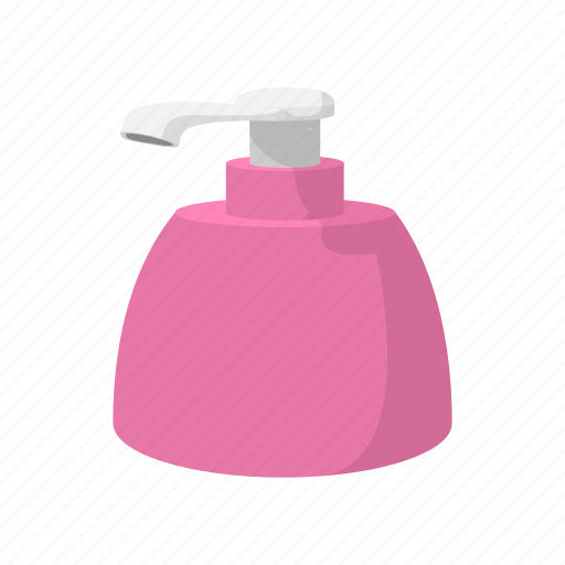bottle, cartoon, detergent, dispenser, hygiene, pink, soap icon