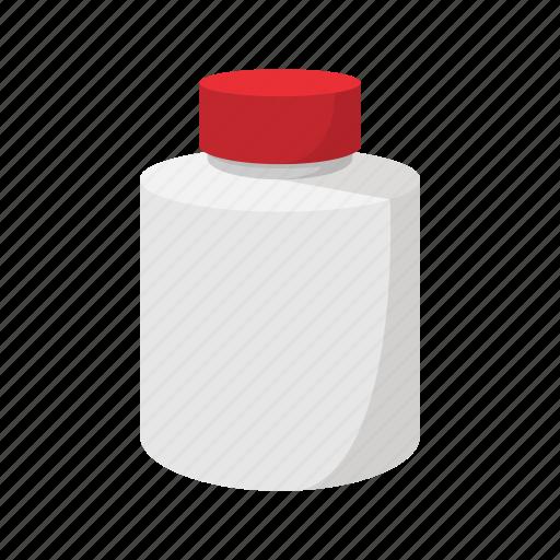 bottle, cartoon, container, jar, lid, plastic, white icon
