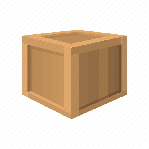box, cargo, cartoon, container, shipment, wood, wooden icon