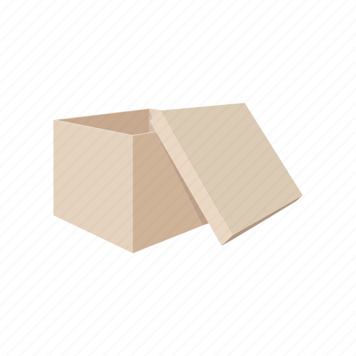box, carton, cartoon, container, empty, package, packaging icon