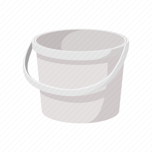 bucket, container, empty, food, packaging, plastic, white icon