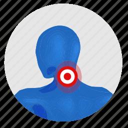 health, man, neck, pain icon