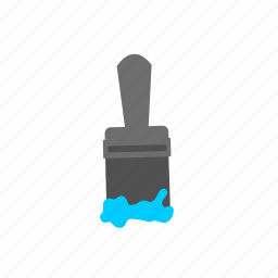blue, brush, color, paint, paintbrush, tool icon