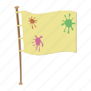 cartoon, flag, flagpole, paintball, peace, team, wooden icon