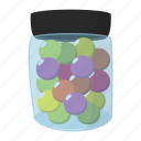 balls, cartoon, color, container, jar, paint, paintball icon