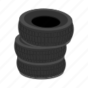 auto, car, cartoon, pile, rubber, service, tires icon