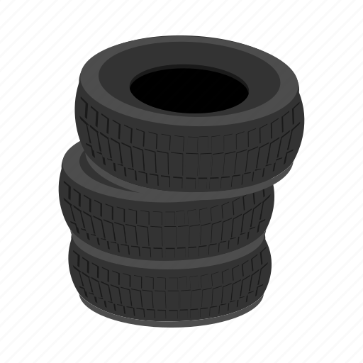 auto, car, cartoon, pile, rubber, service, tires icon