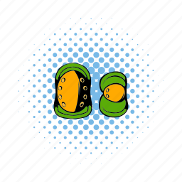 comics, knee, pad, paintball, pair, protection, scribble icon