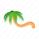beach, cartoon, curved, palm, summer, tree, tropical icon