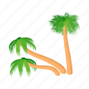 cartoon, design, palm, slanted, style, summer, tree icon