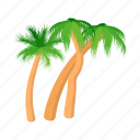 cartoon, crossed, design, palm, style, summer, tree icon