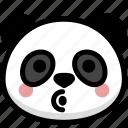 blowing, emoji, emotion, expression, face, feeling, panda