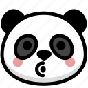 blowing, emoji, emotion, expression, face, feeling, panda icon