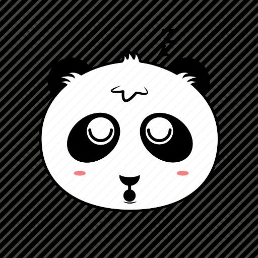 avatar, emoticon, expression, face, panda, sleep, smiley icon